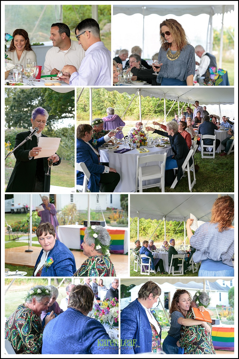 tented reception toasts