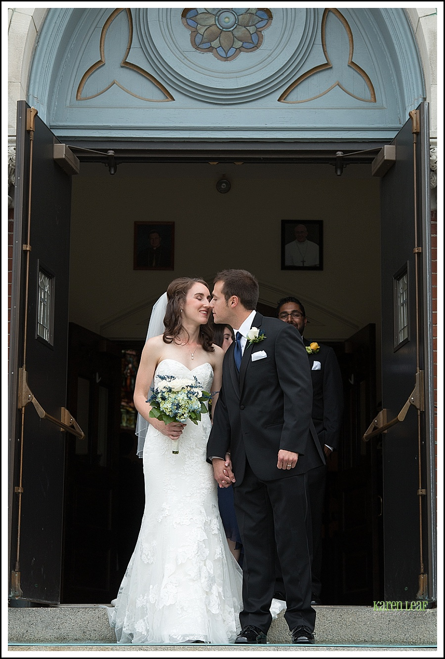kiss outside church