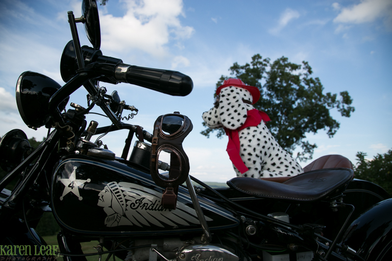 indian motorcycle with firehouse dalmation