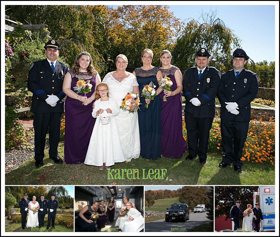 wedding formals with and arrivaing at ceremony via EMS