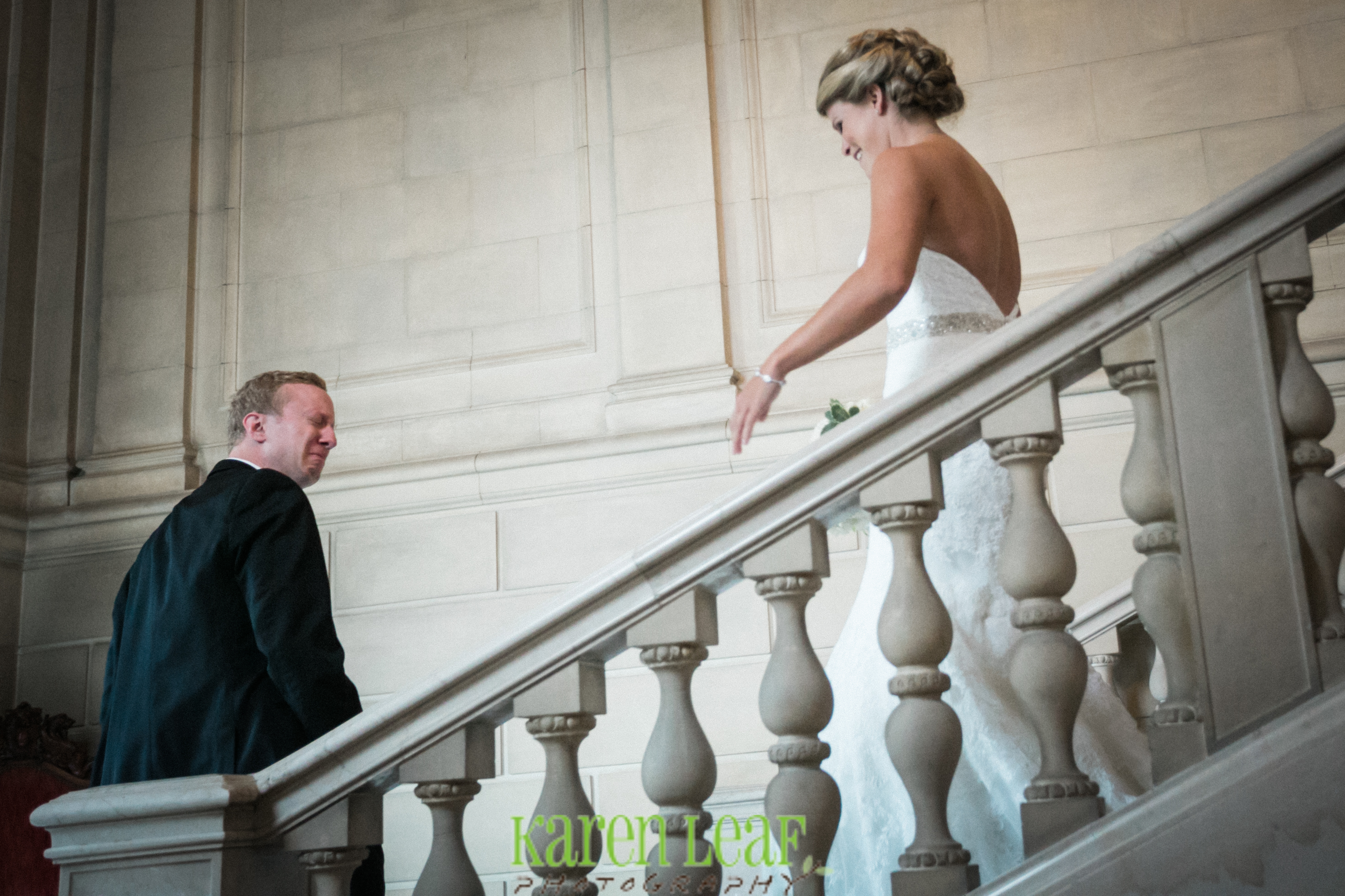 Raw emotion as the groom sees his bride